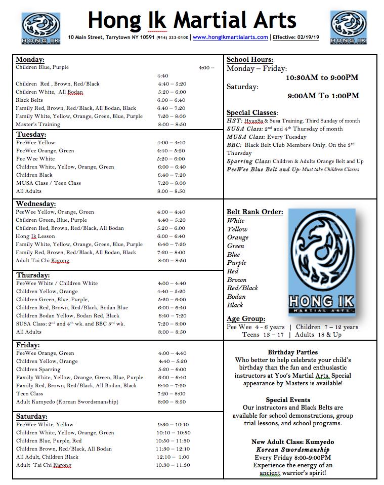 Tarrytown Taekwondo schedule