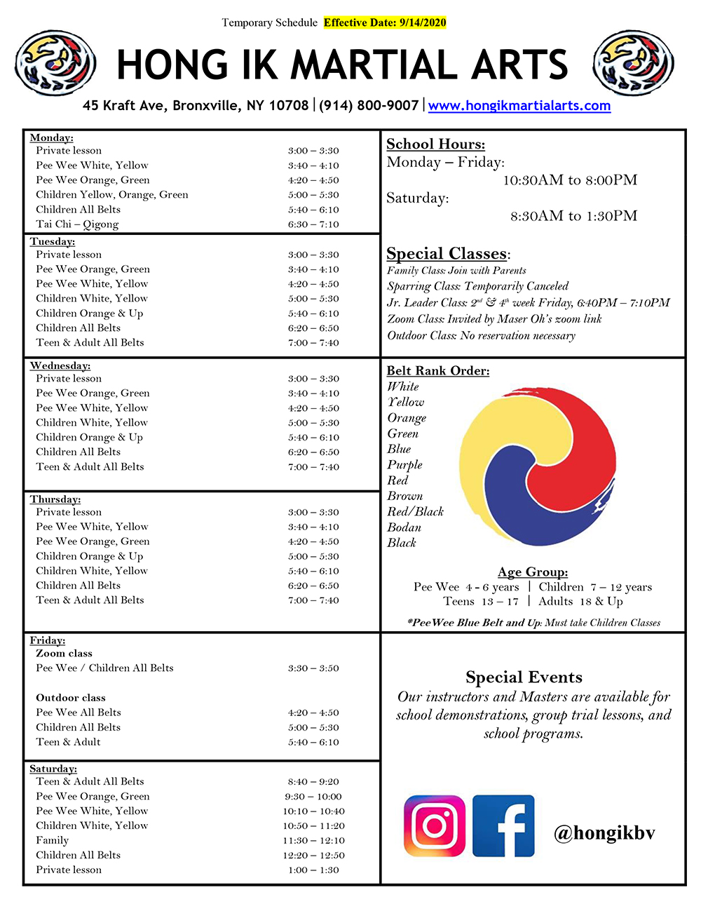 Bronxville Schedule