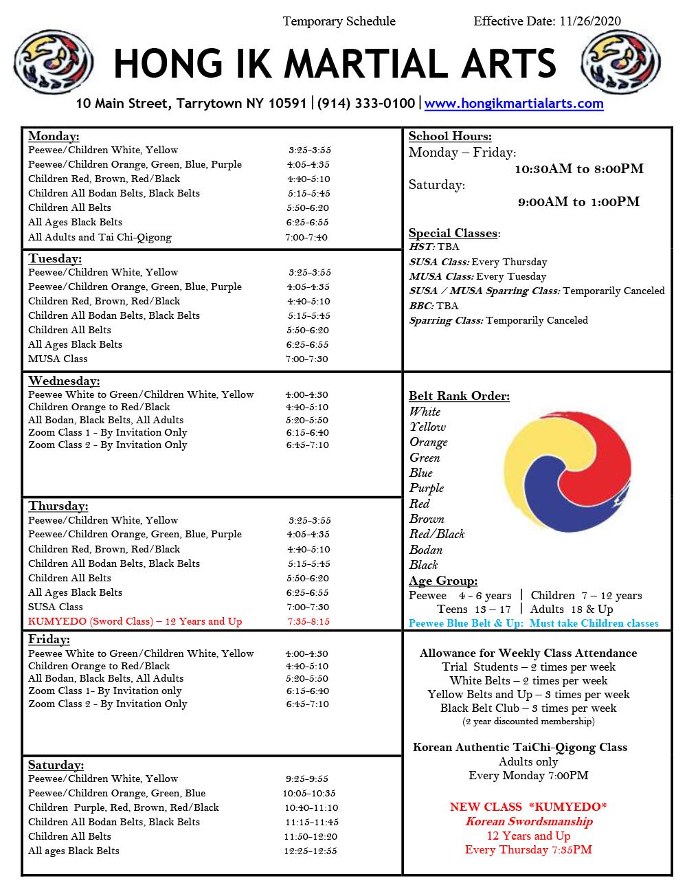 Tarrytown Schedule